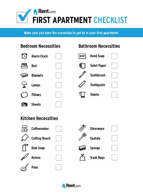 Your First Apartment Checklist Com Blog