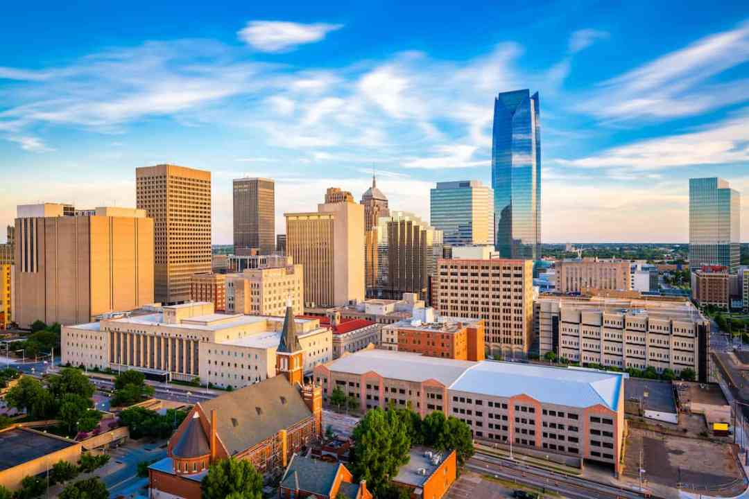 Blue skies over Oklahoma City, OK with its city view downtown.