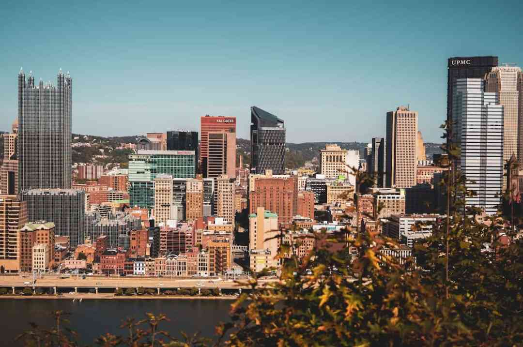 City view during the day of downtown Pittsburgh, PA.