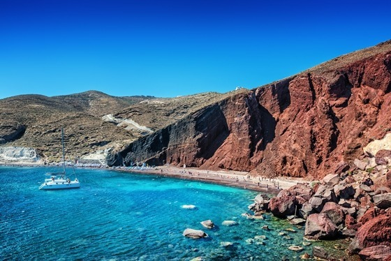 red beach santorini aegean