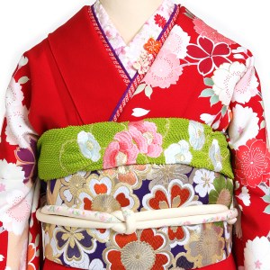 【成人式/参列/振袖レンタル】赤地かすみ桜