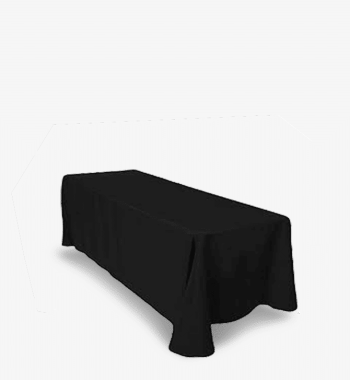 90 x 132 6ft black tablecloth rental rentalry.com