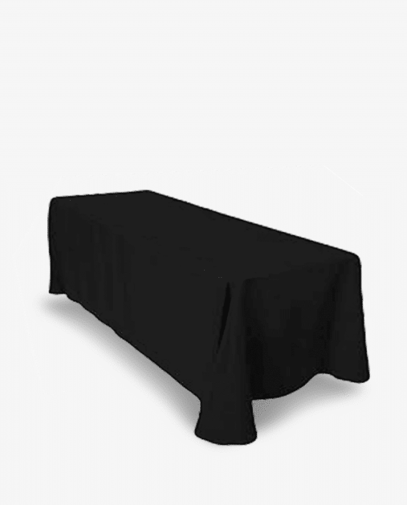 8ft 90x156 black tablecloth rental