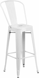 White Bar Stools with Backrest