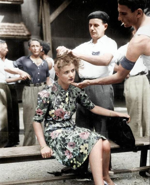 Kazen za sodelovanje z nacisti, Montelimar, 1944 (foto: HansLucifer/Reddit)