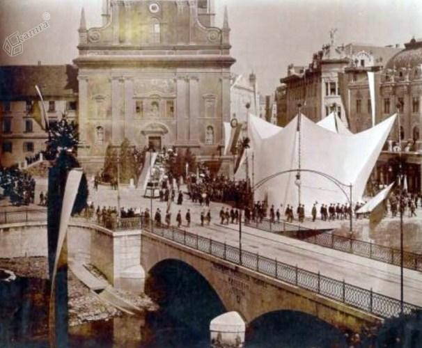 1905 - slavnost pred odkritjem Prešernovega spomenika