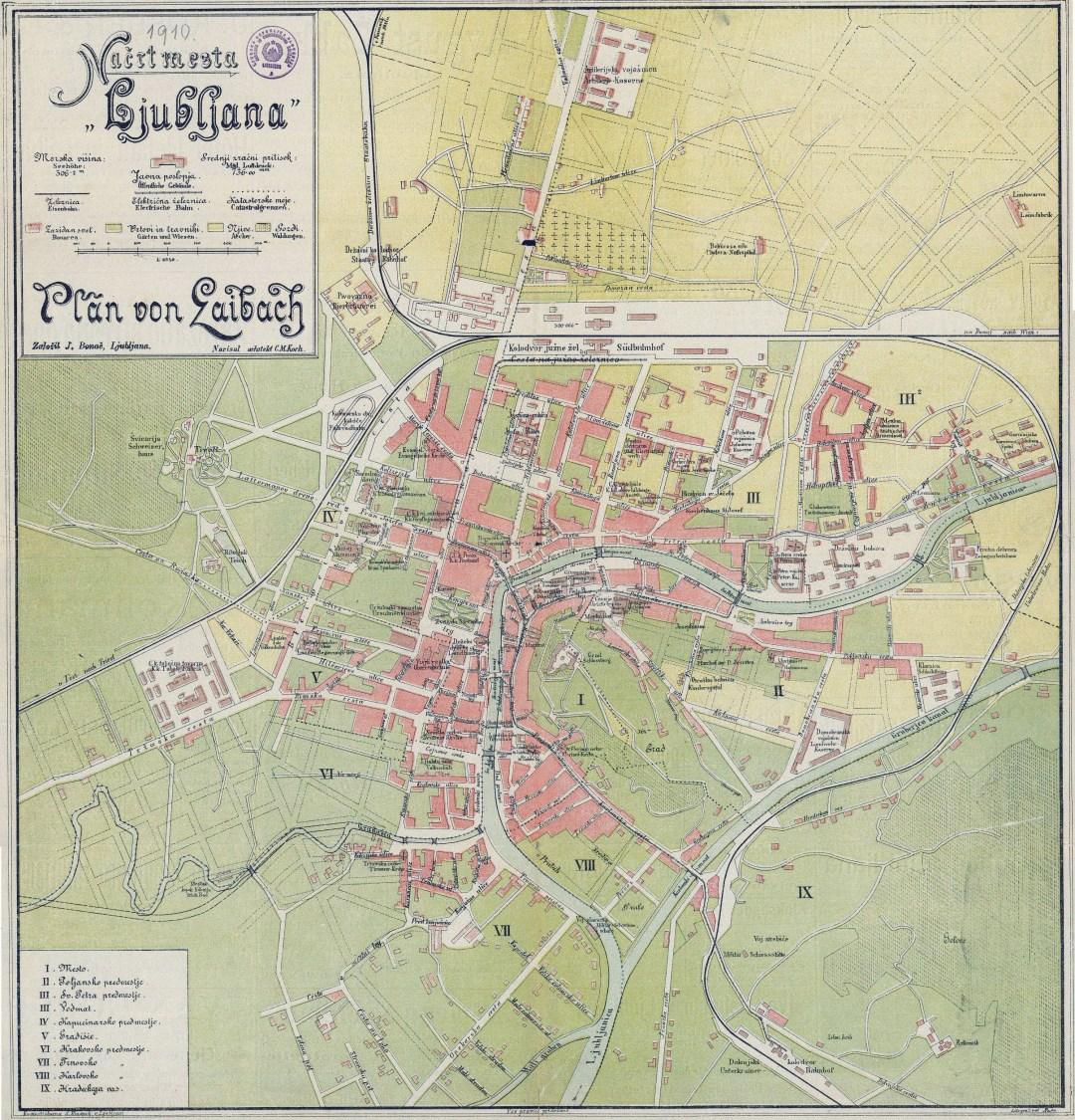 1910 - zemljevid Ljubljane