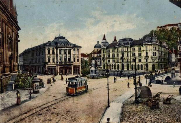 1913 - Prešernov trg in tramvaj
