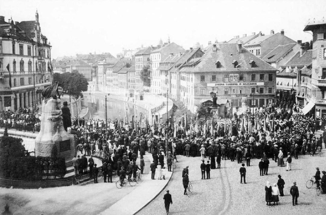 1928 - tabor slovenskega orlovstva na Prešernovem trgu