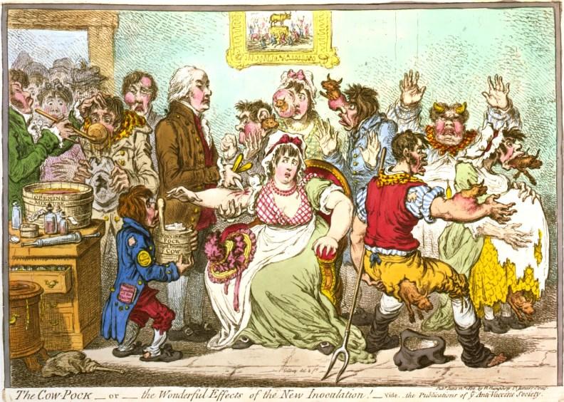 Karikatura Edwarda Jennerja, ki cepi svoje paciente. (Gillray, 1802)