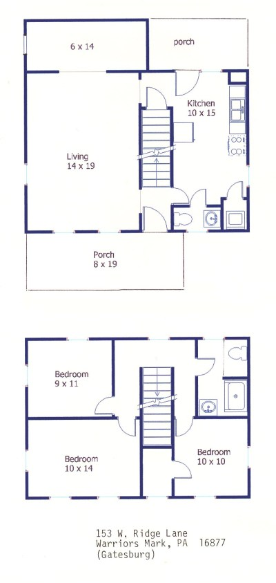 Floor plan of the 3-bedroom house for rent at 153 W. Ridge Lane, Warriors Mark PA.