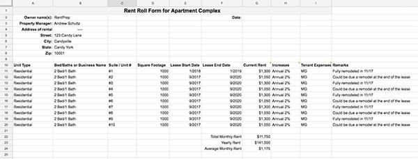 landlord rent roll excel spreadsheet