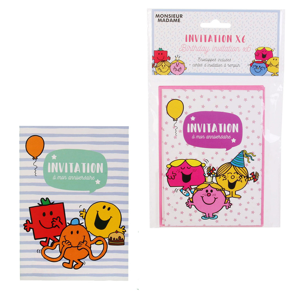 6 cartes d invitation anniversaire monsieur madame enveloppes vert chez rentreediscount loisirs creatifs