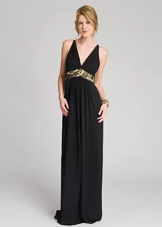 Sequin Trim Empire Gown