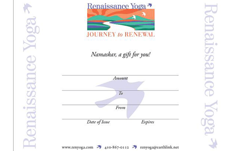 Renaissance Yoga Gift Certificate - Buy one online