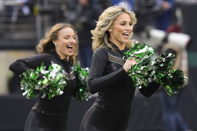 New York Jets cheerleaders perform during the second half of an NFL football game against the New York Giants Sunday, Nov. 10, 2019, in East Rutherford, N.J. (AP Photo/Bill Kostroun)