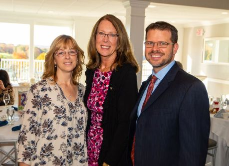 From left, Jennifer Carbunaro and Kathy Luria, both with Webster Bank, and Thomas Burden of People's United BankJim Shannon Republican-American