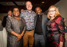 From left, Yanick Thomas of Brooklyn, NY, Jeff Thomson of NYC, Pastor Roland Francois of Haiti, and Delores Palmatier of Oxford all enjoy themselves, during the Seeds of Hope for Haiti Dinner & Gala at the Heritage Hotel and Resort in Southbury on Friday. Bill Shettle Republican-American