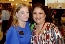 From left, Mandy Allen of Thomaston, and Kate Carrillo of Southington attend the Waterbury Chamber annual Business Women's Forum in Southington Tuesday. Steven Valenti Republican-American