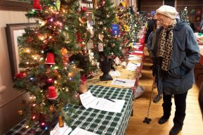 Marge Maisto of Oakville checks out the Festival of Trees at the annual Light Up Thomaston Christmas celebration in Thomaston Saturday. Steven Valenti Republican-American