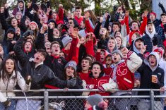 CHESHIRE, CT. 28 November 2019-112819BS1255 - The Cheshire student section cheers their team on, during a SCC game and the annual Cheshire vs Southington Thanksgiving game called the Apple Valley Classic at Cheshire High School on Thursday. Southington won 21-20 in double overtime. Bill Shettle Republican-American