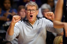 Connecticut head coach Geno Auriemma shouts from the sideline during the second half of an NCAA college basketball game against Temple Sunday, Nov. 17, 2019, in Philadelphia. Connecticut won 83-54. (AP Photo/Laurence Kesterson)