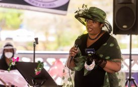 Wendy Tyson Woods reads a poem entitled Ain't We Women during a Mother's Day celebration held Saturday at Lakewood Park in Waterbury. The event was hosted by the Black Women United Committee. The he poem is based on Sojourner Truth's speech delivered at the Women's Convention in Akron, Ohio in 1851. Jim Shannon Republican American