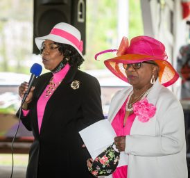 Joyce Hall-Petteway, event Mistress of Ceremony, left, introduces keynote speaker State Senator Marilyn Moore (D-22nd District) during a Mother's Day celebration held Saturday at Lakewood Park in Waterbury. The event was hosted by the Black Women United Committee. Jim Shannon Republican American