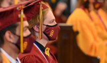 Sacred Heart graduates listen to guest speakers during the 99th annual commencement exercises for Sacred Heart High School Friday at The Basilica of the Immaculate Conception in Waterbury. Jim Shannon Republican American