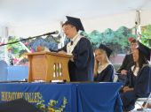 Essayist Emerson Rinehart delivers a humorous message during Thursday's graduation at Housatonic Valley Regional High School in Falls Village. Ruth Epstein Republican-American
