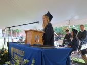 Charlotte Clulow delivers the valedictory speech at Housatonic Valley Regional High School's graduation Thursday in Falls Village. Ruth Epstein Republican-American