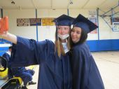 Elaine Dekker, left, and Abigail Coolbeth pose for a selfie just before Housatonic Valley Regional High School's graduation Thursday in Falls Village. A total of 67 seniors graduated. Ruth Epstein Republican-American