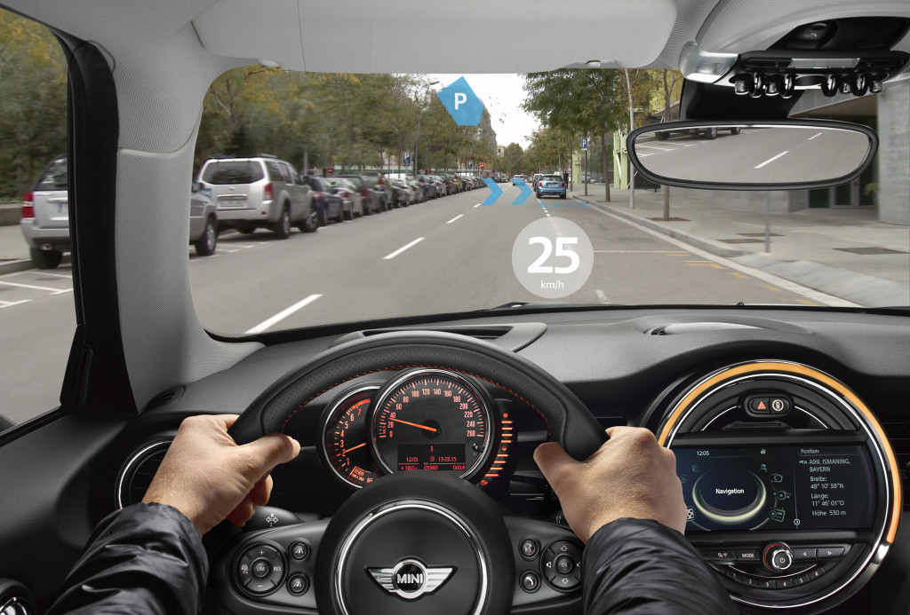 This image provided by BMW shouls the view from a pair of MINI Augmented Vision glasses. (Provided by BMW)