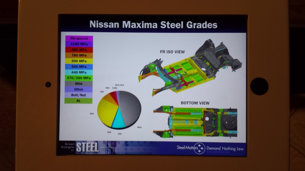 The bottom of the 2015 Nissan Maxima and its steel grades are shown. (John Huetter/Repairer Driven News; original image provided by Nissan)