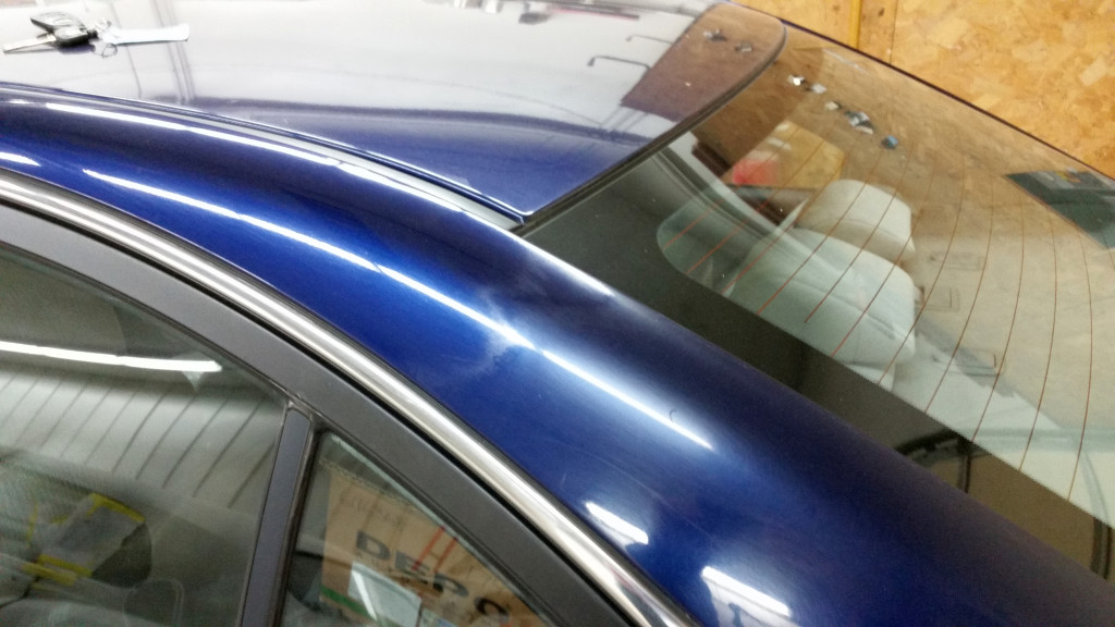 Repairers solicited by Auto Damage Experts provided photos of failing C-pillar clearcoat-paint blends. (Provided via Auto Damage Experts)
