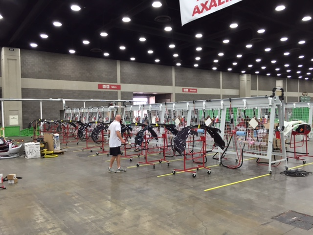 Plastic bumper covers are lined up in preparation for the plastic repair portion of the SkillsUSA Championships in June 2015 in Louisville, Ky. (Kye Yeung/Society of Collision Repair Specialists)