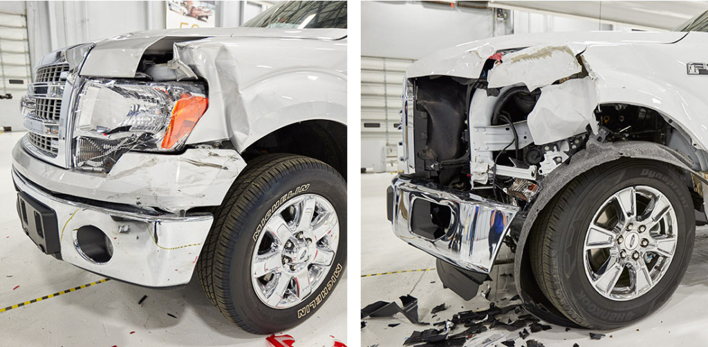 On the front of the crashed 2015 Ford F-150 aluminum truck, right, mechanics had to assemble components like wiring harnesses and splash guards under the totaled fender before installing a new one. At left is a similarly crashed 2014 Ford F-150. (Provided by the Insurance Institute for Highway Safety Status Report)