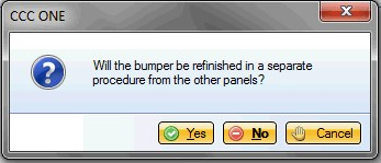 The CCC bumper prompt is displayed. (Screenshot from CCC provided by Nationwide/Allied)