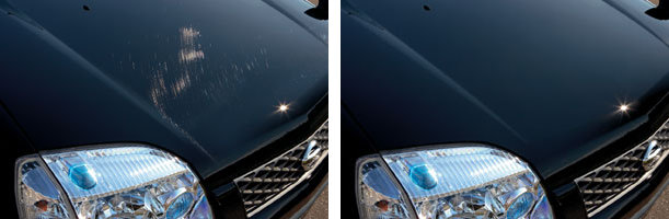 """Before and after photos of Nissan's """"Scratch Guard"""" paint, later known as """"Scratch Shield."""" (Provided by Nissan)"""
