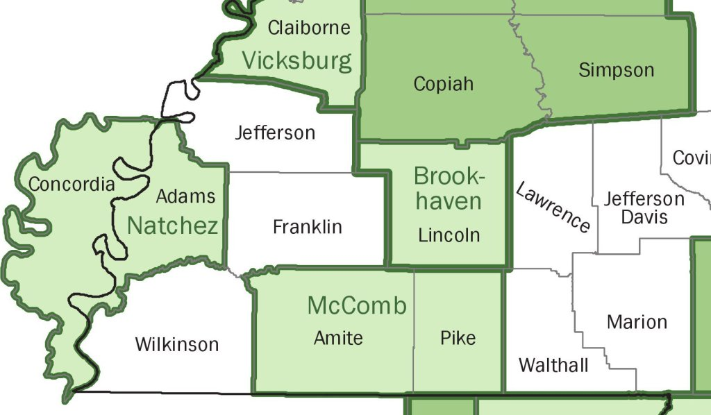 """Brookhaven, Miss., and the area around it is a separate micropolitan area. If State Farm stuck to an accurate survey of solely that area and the surrounding Lincoln County and applied an """"island"""" rate to that region, it might be a little more palatable to the plaintiff shop than identical rates across a 360-mile area with no explanation. (Provided by U.S. government agencies)"""