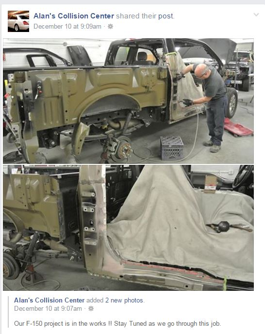 Alan's Collision Center general manager Jim Pfau posted an aluminum F-150 repair on social media like YouTube and Alan's Collision Facebook page (pictured) to encourage industry participation and discussion. (Screenshot from Alan's Collision Center Facebook page)