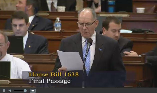 Rep. Stephen Barrar, Chester County/Delaware County, speaks Dec. 7, 2015, against House Bill 1638 in this screenshot from Pennsylvania House video. (Screenshot of Pennsylvania House video on www.house.state.pa.us)