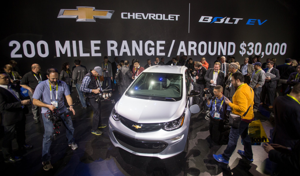 The 2017 Chevrolet Bolt EV is revealed on Jan. 6, 2016, at the Consumer Electronics Show. (Steve Fecht for Chevrolet/Copyright General Motors)