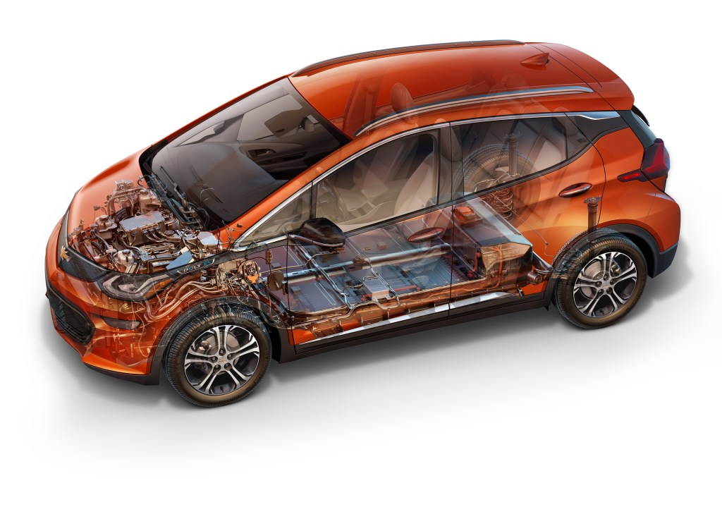A rendering of the 2017 Chevrolet Bolt EV and its battery is shown. (Copyright General Motors)