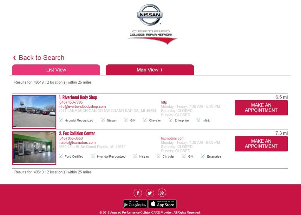 Nissan's online certified shop locator, pictured here in a screenshot, draws more than 20,000 hits a month, Assured Performance CEO Scott Biggs said Jan. 7, 2016. (Screenshot from www.autobodylocator.com via collision.nissan.com)