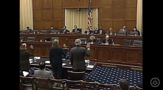 Witnesses are sworn in in a screenshot from subcommittee video of the Feb. 2, 2016, Courts, Intellectual Property, and the Internet Subcommittee of the House Judiciary Committee hearing on the PARTS Act. (Screenshot from House subcommittee video on YouTube)