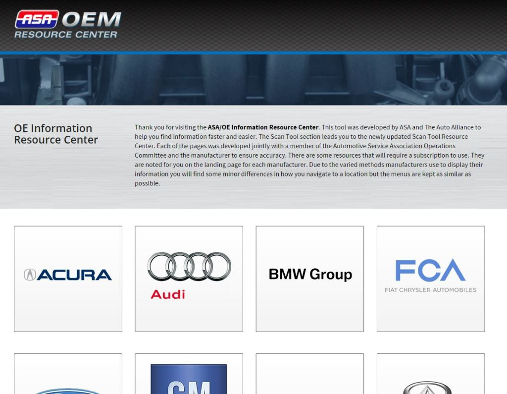 A screenshot of the Automotive Service Association-Alliance of Automobile Manufacturers OEM Resource Center is shown.