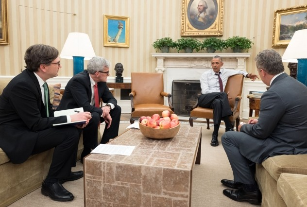Democratic President Barack Obama, second from right, meets Jan. 6, 2016, in the Oval Office with, from left, Council of Economic Advisors Chairman Jason Furman, Chief of Staff Denis McDonough and National Economic Council Director Jeff Zients. (Official White House Photo by Pete Souza/File)
