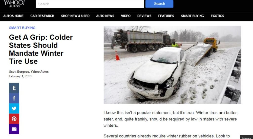 Amid all the high-tech solutions under development to reduce crashes, a Yahoo Autos writer has argued for the low-tech answer of cold states mandating snow tires. (Screenshot of www.yahoo.com/autos)