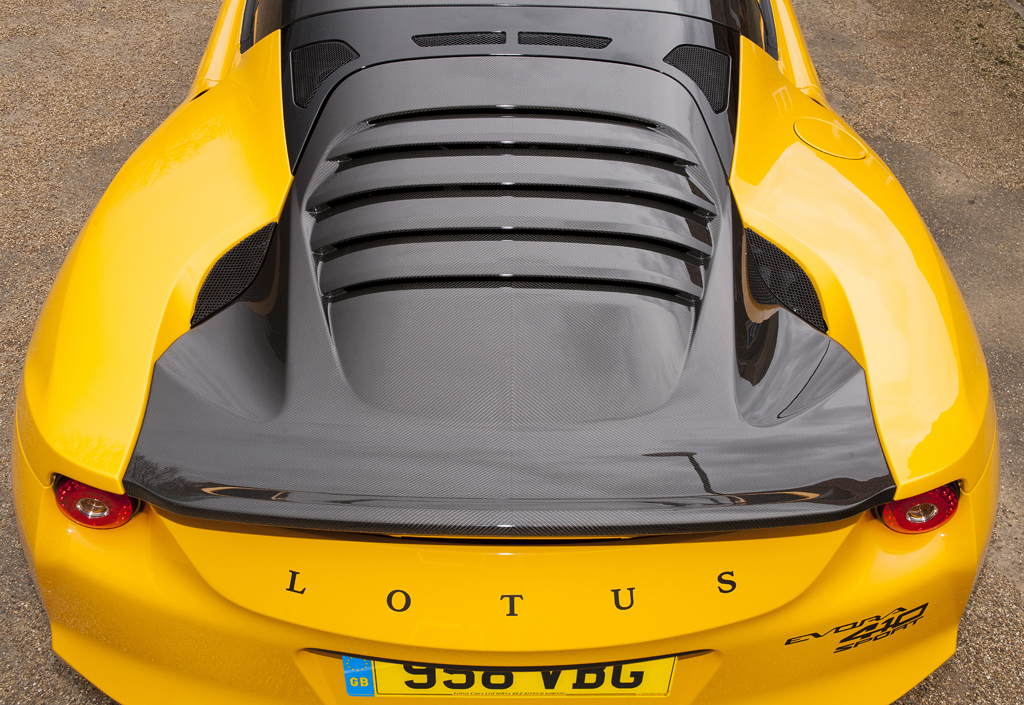 The tailgate on the Lotus Evora Sport 410 is one piece of carbon fiber. (Provided by Lotus)